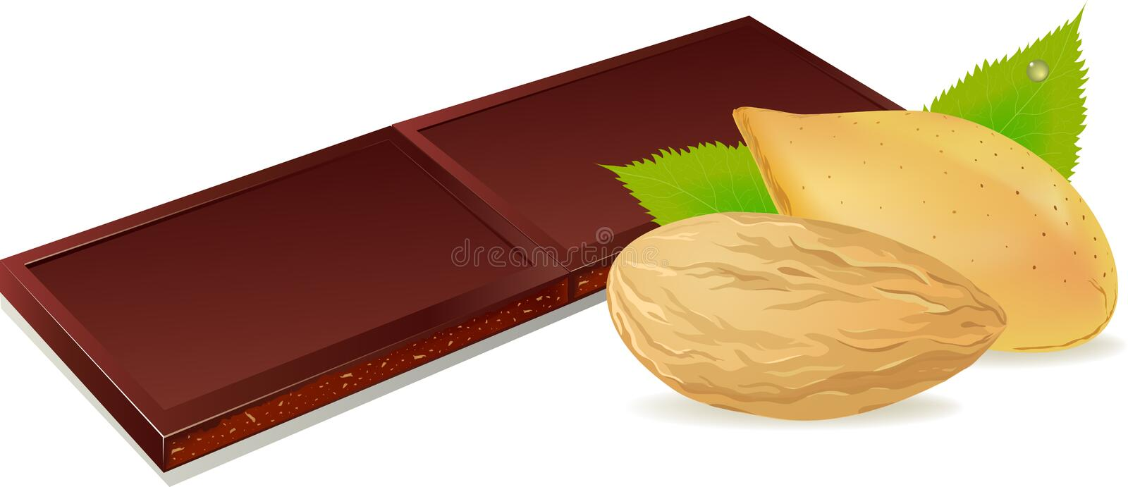 Illustration de vecteur de chocolat et des amandes illustration stock
