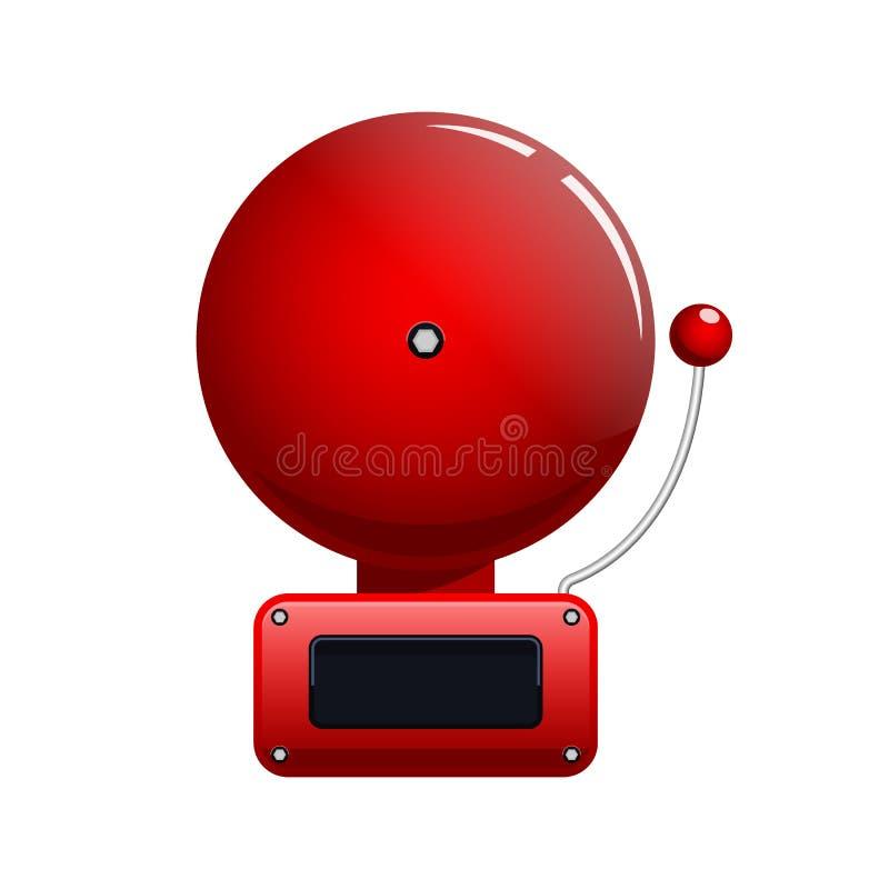 Illustration de vecteur de cloche d'alarme d'incendie rouge illustration stock