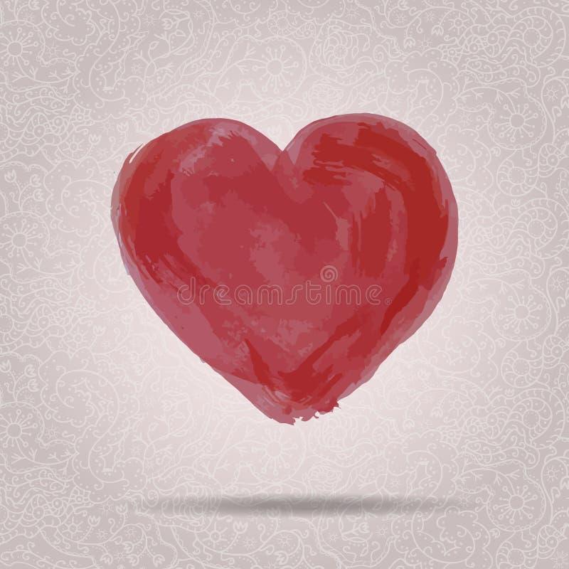 Illustration de vecteur de coeur grunge tiré par la main d'aquarelle illustration de vecteur