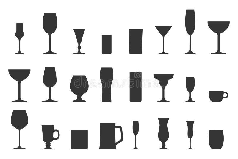Illustration de vecteur de collection en verre de silhouette illustration de vecteur
