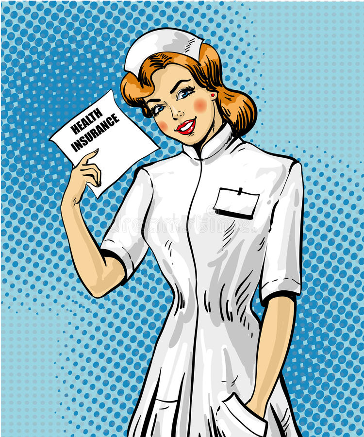 Illustration de vecteur de concept d'assurance-maladie dans le rétro style d'art de bruit illustration libre de droits