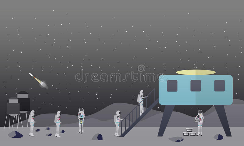 Download Illustration De Vecteur De Concept D'exploration De Lune Dans Le Style Plat Illustration de Vecteur - Illustration du module, people: 87705409