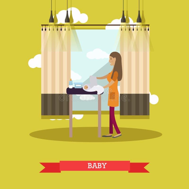 Illustration de vecteur de concept de bébé dans le style plat illustration libre de droits