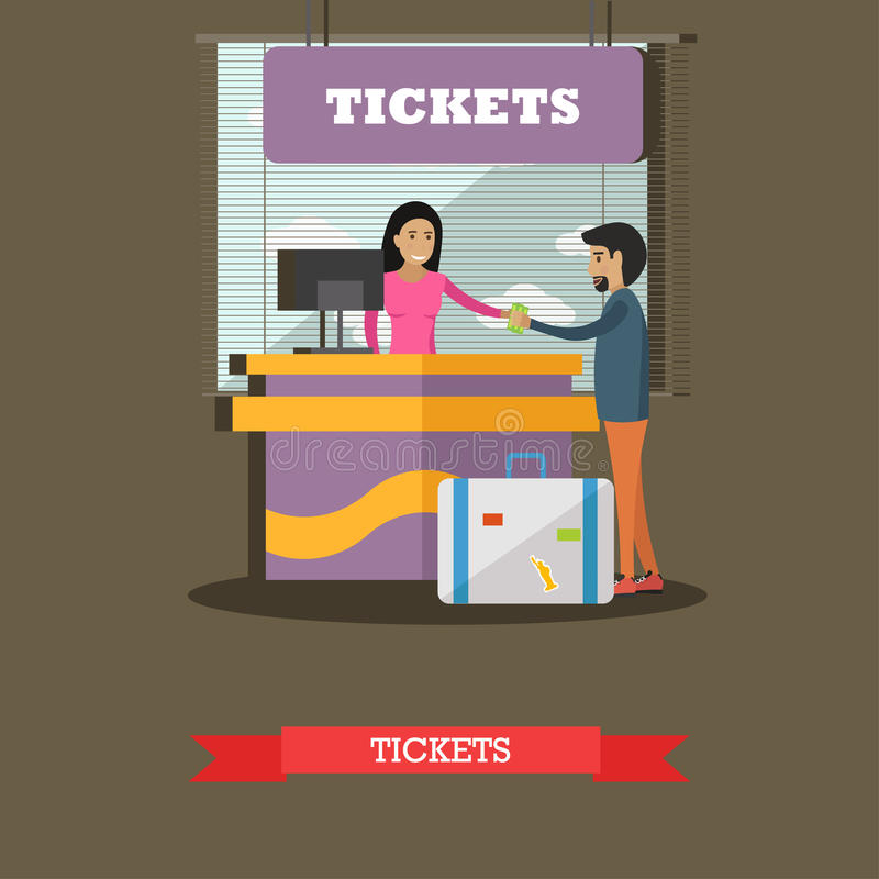 Illustration de vecteur de concept de compteur de billet d'aéroport, conception plate illustration de vecteur