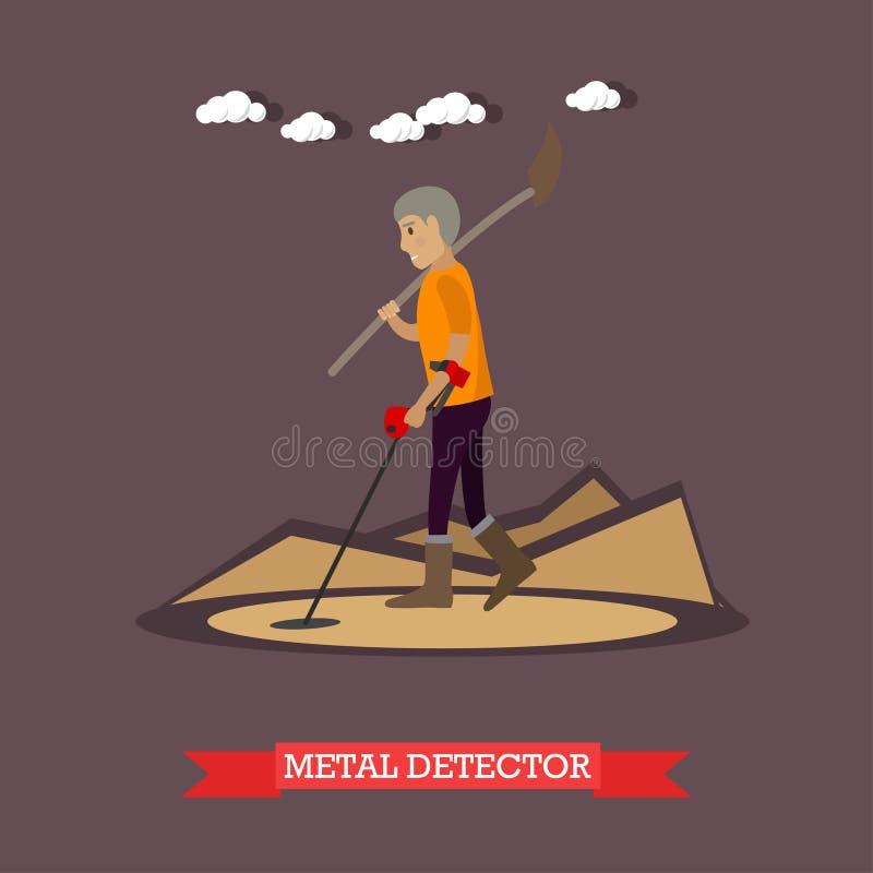 Illustration de vecteur de concept de détecteur de métaux dans le style plat illustration libre de droits