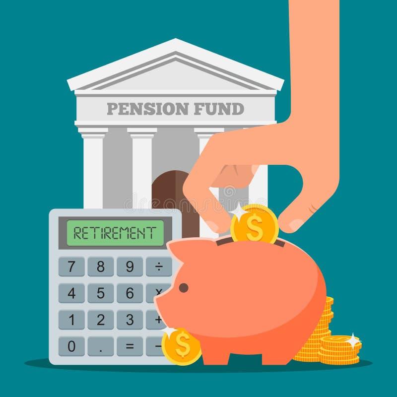 Illustration de vecteur de concept de fonds de pension dans l'appartement illustration stock