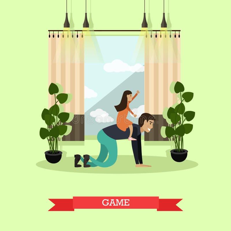 Illustration de vecteur de concept de jeu dans le style plat illustration libre de droits