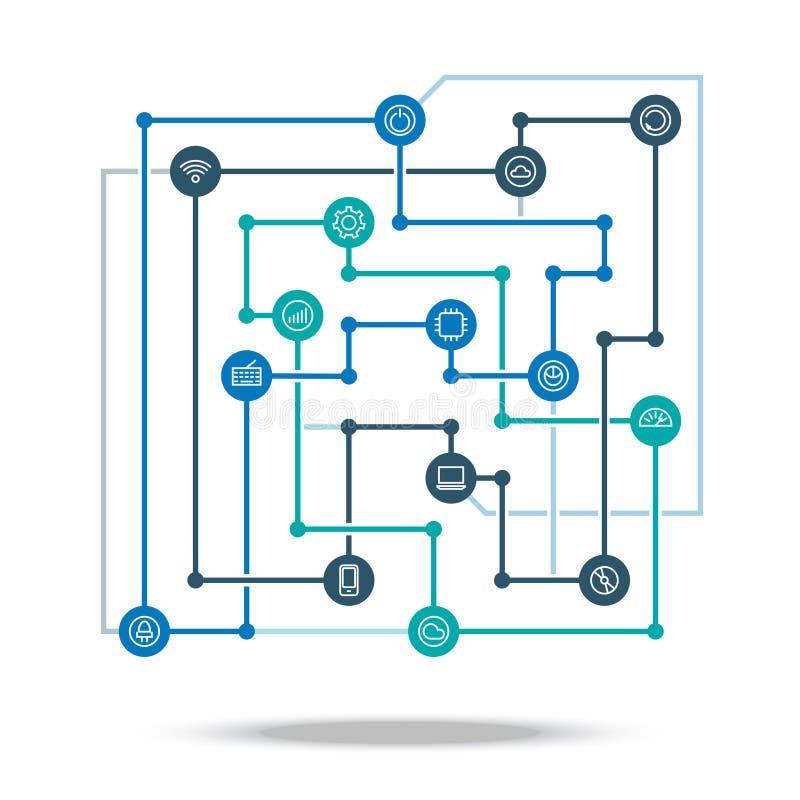 Illustration de vecteur de concept de réseau reliée par technologie Plan technologique d'intégration d'industrie illustration stock