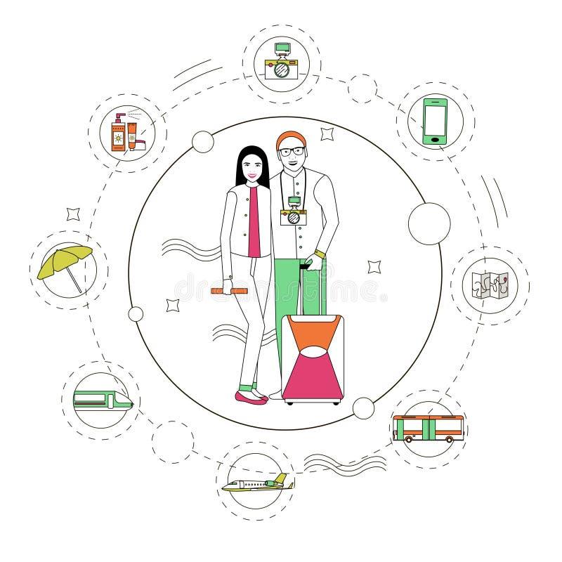 Illustration de vecteur de concept de voyage dans le style linéaire Éléments de conception, ligne icônes Les touristes emballent  illustration de vecteur