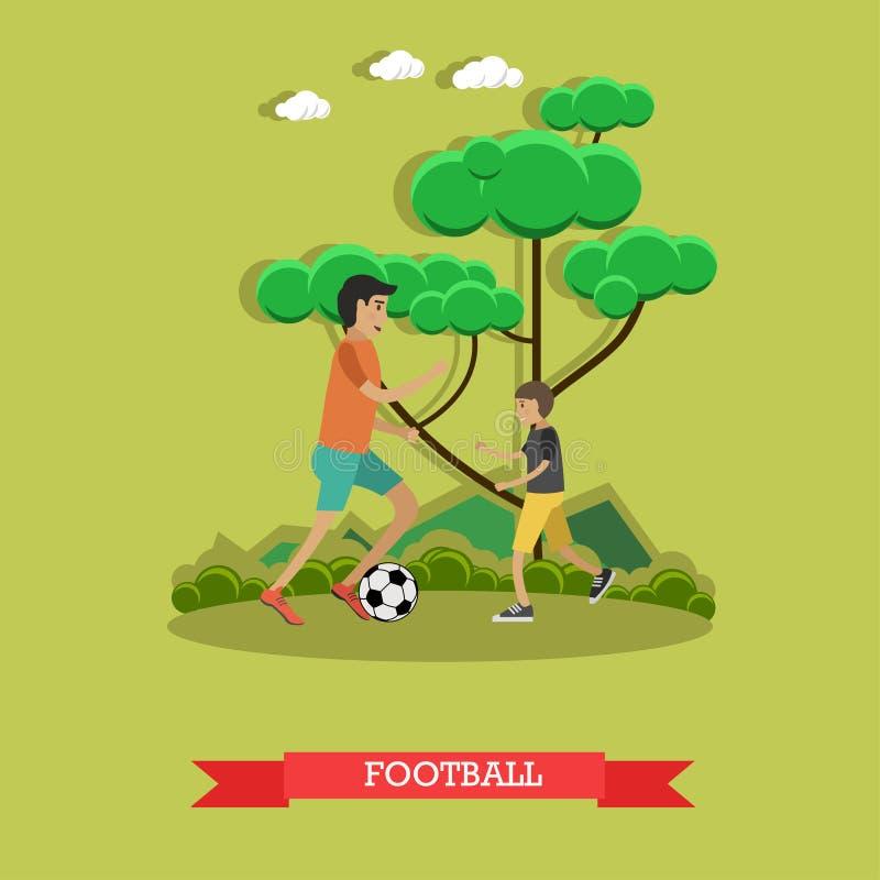 Illustration de vecteur de concept du football dans le style plat illustration de vecteur