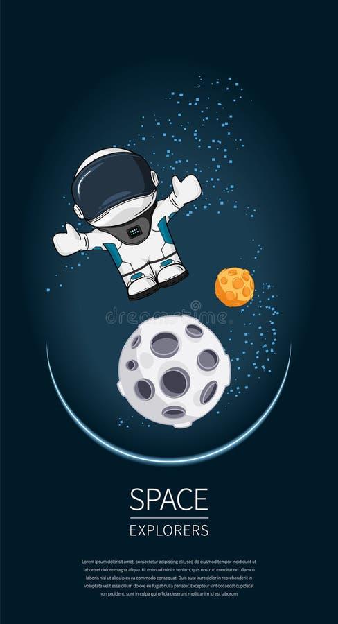Illustration de vecteur de conception moderne avec l'astronaute dans l'espace exploration d'univers et nouvelle technologie Descr illustration de vecteur