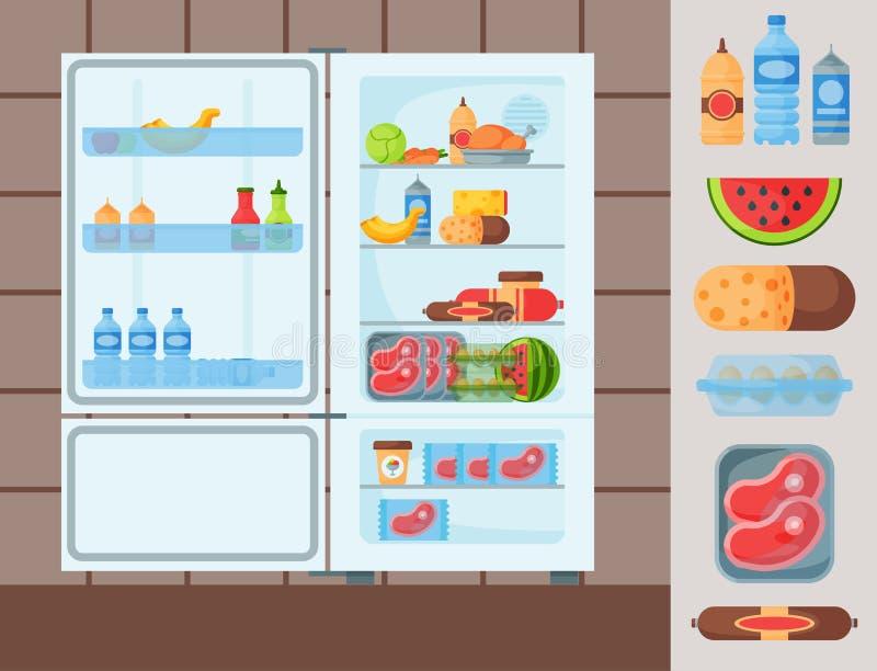Illustration de vecteur de congélateur d'appareils de réfrigérateur d'ustensile de ménage de vaisselle de cuisine d'aliment biolo illustration libre de droits