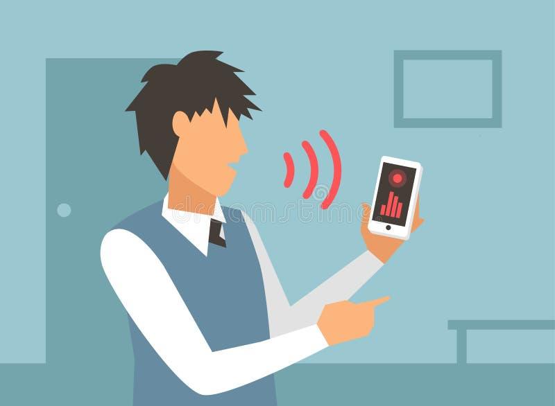 Illustration de vecteur de contrôle de voix Ordinateur intelligent illustration stock