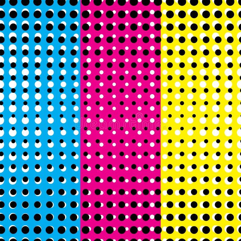 Illustration de vecteur de copie sans couture d'impression de concept de modèle avec les rayures et la couleur CMYK illustration stock