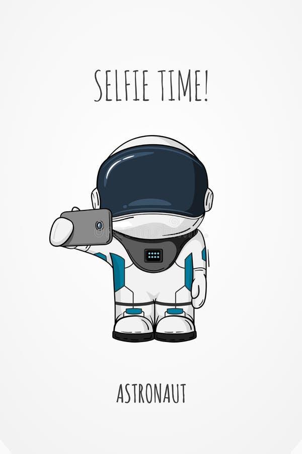 Illustration de vecteur de cosmonaute avec le smartphone à disposition Concept de construction photos moi-même Temps de Selfie ca illustration de vecteur