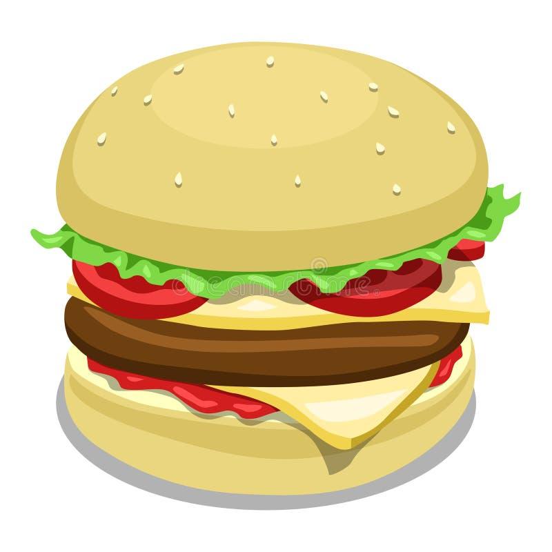Illustration de vecteur de couleur d'hamburger illustration stock