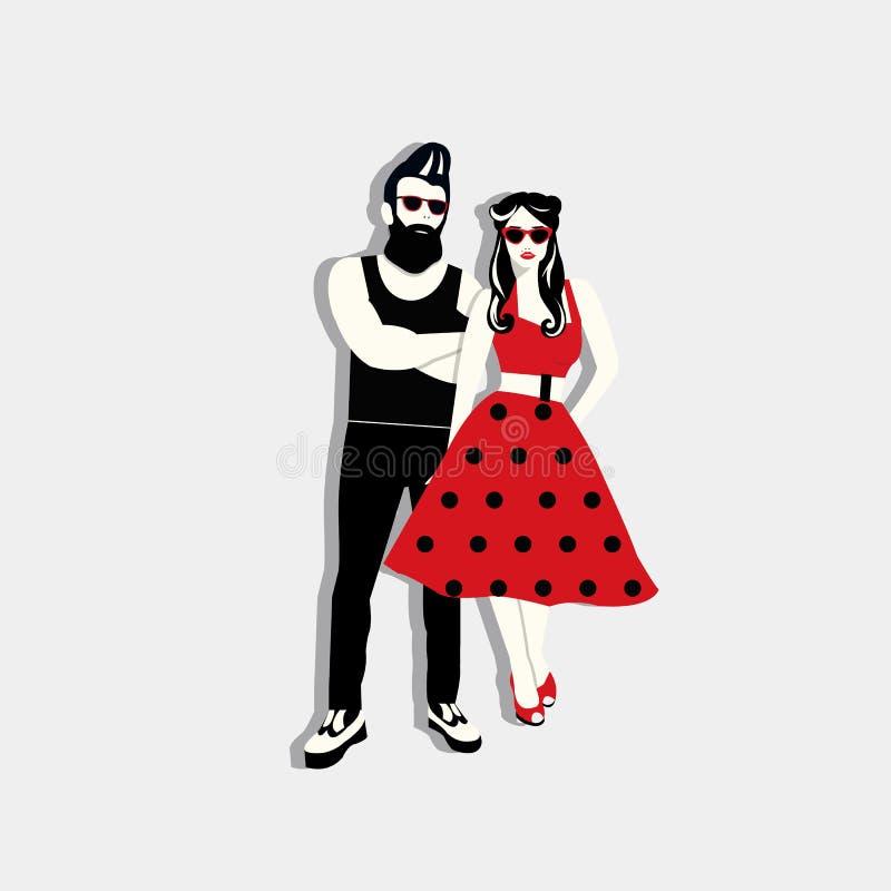 Illustration de vecteur de couples de rockabilly photographie stock