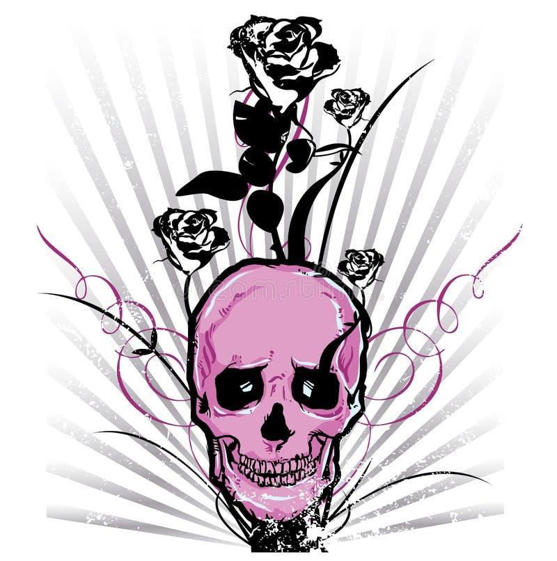 Illustration de vecteur de crâne et de roses illustration stock