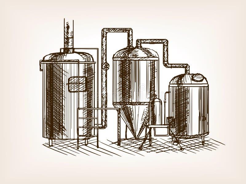 Illustration de vecteur de croquis de brassage de bière illustration de vecteur