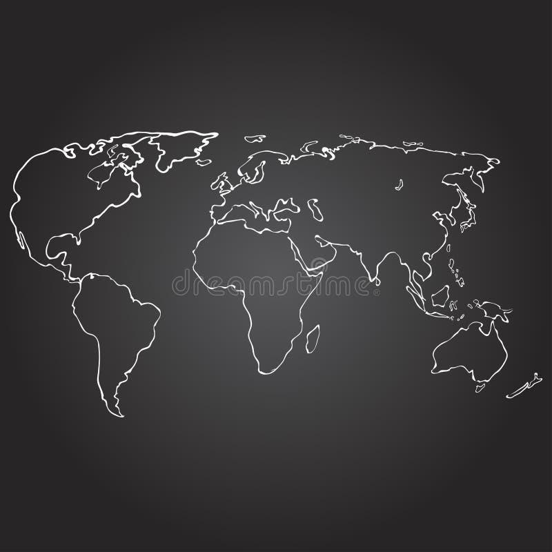 Illustration de vecteur de découpe de carte du monde sur le tableau, tiré par la main illustration de vecteur