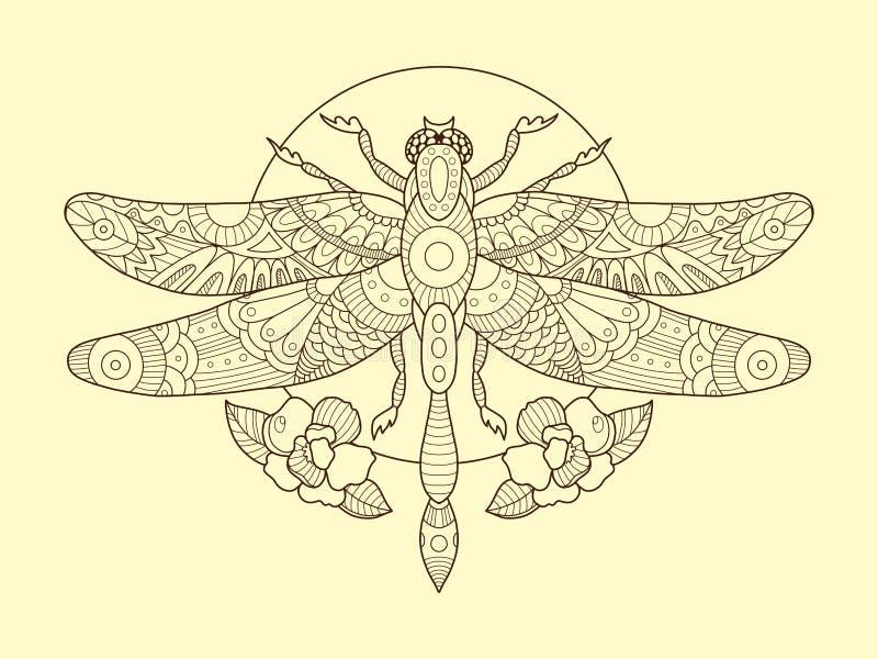 Illustration de vecteur de dessin de couleur de libellule - Libellule dessin ...