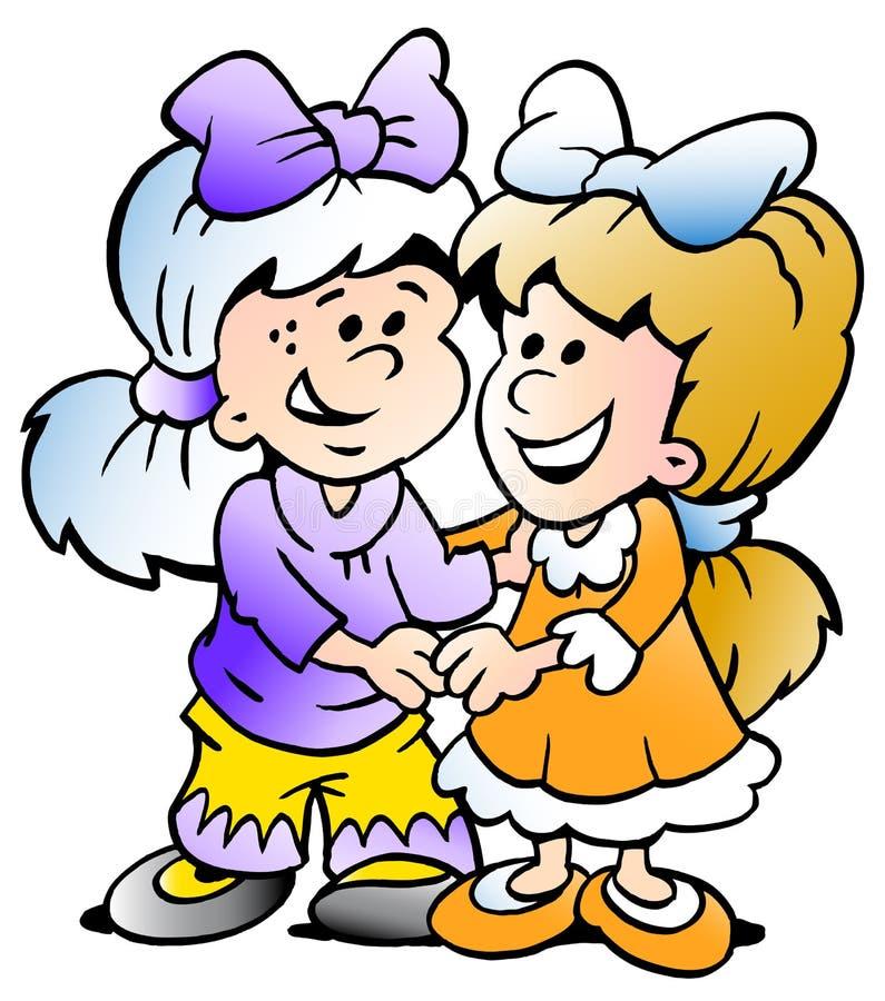 Illustration de vecteur de deux amies mignons