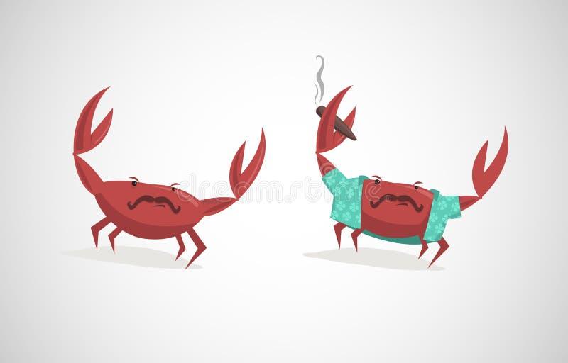 Illustration de vecteur de deux crabes drôles de bande dessinée illustration stock