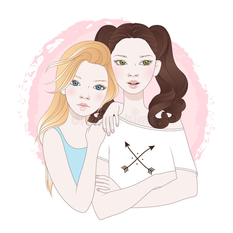 Illustration de vecteur de deux meilleurs amis d'adolescentes illustration stock