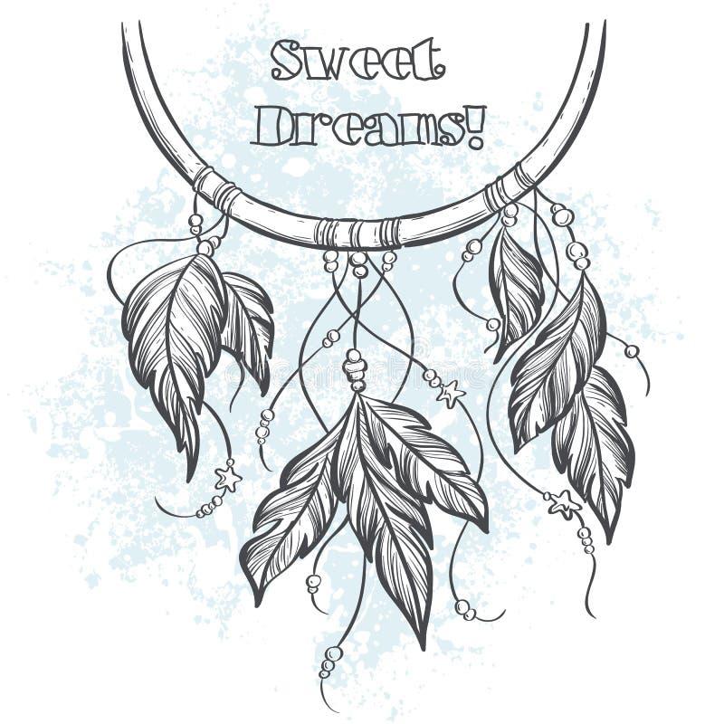 Illustration de vecteur de Dreamcatcher avec des plumes illustration libre de droits