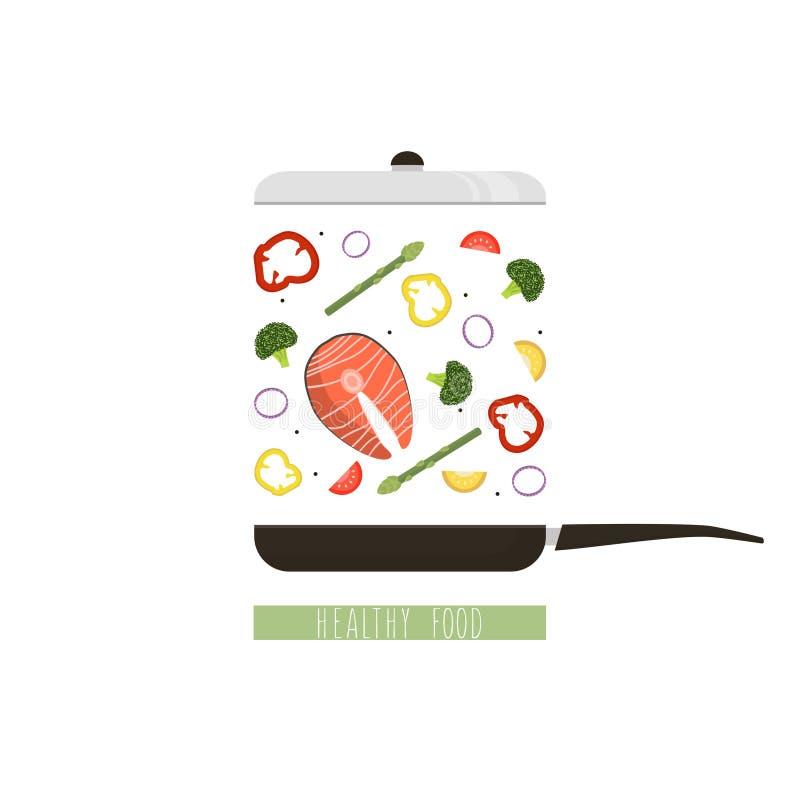 Illustration de vecteur de faire cuire la nourriture saine Style plat illustration stock