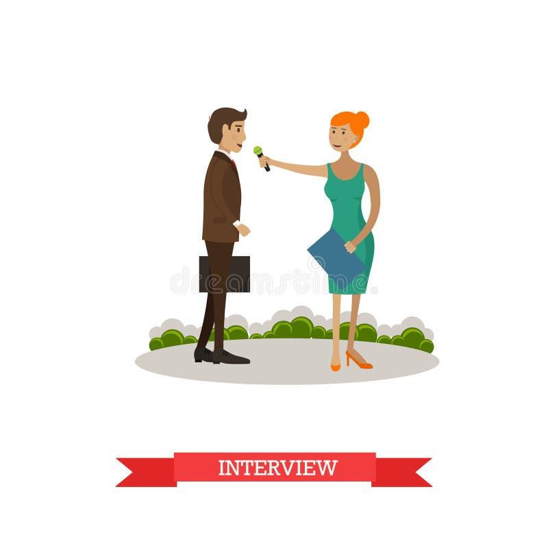 Illustration de vecteur de femme faisant l'entrevue dans le style plat illustration stock
