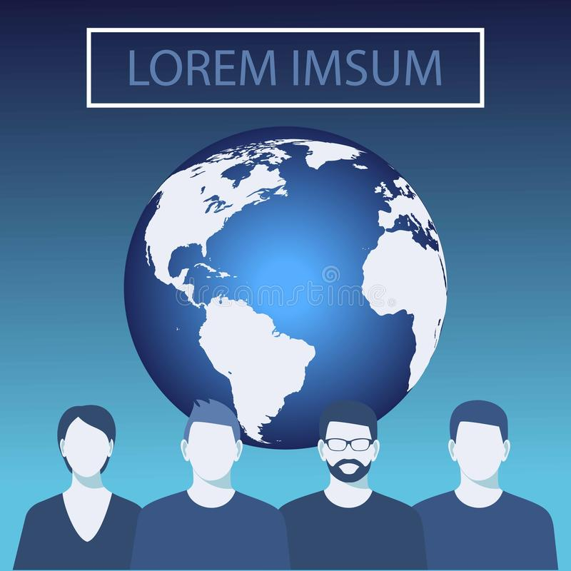 Illustration de vecteur de globe du monde planète bleue, fond de vecteur Équipe d'affaires Gens d'affaires illustration de vecteur