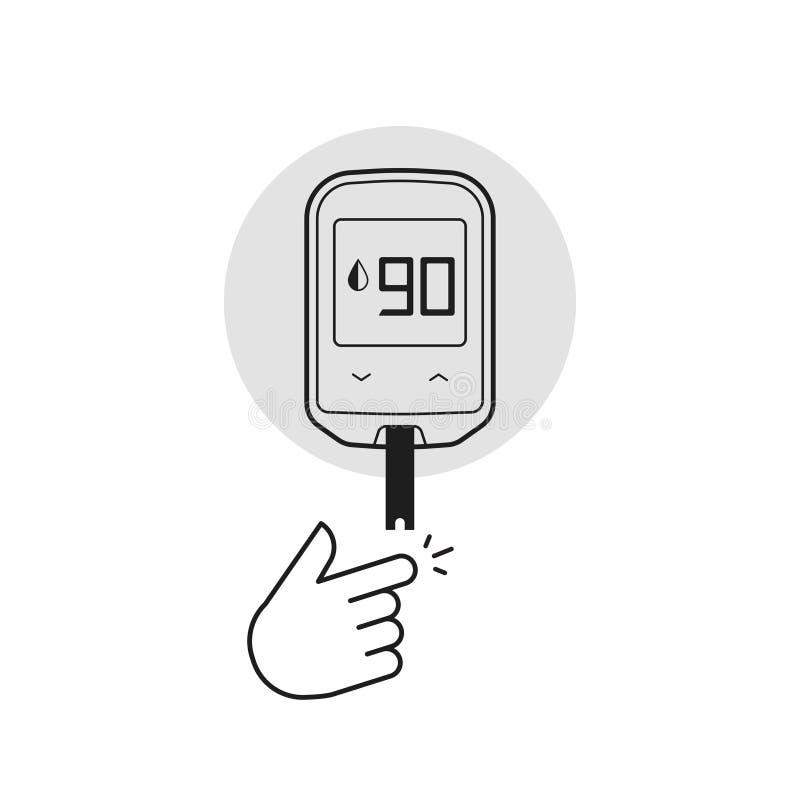 Illustration de vecteur de Glucometer d'isolement, matériel d'essai d'essai de glucose sanguin de diabète illustration libre de droits