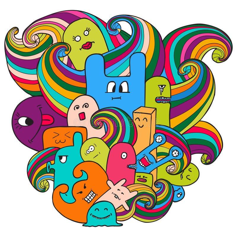 Illustration de vecteur de griffonnage avec des monstres Graffiti drôle de monstres Art tiré par la main de croquis illustration stock