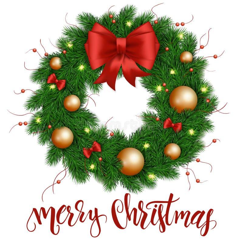 Illustration de vecteur de guirlande réaliste d'isolement de Noël avec le rouge de Noël et les ornements d'or, les arcs de ruban  illustration de vecteur