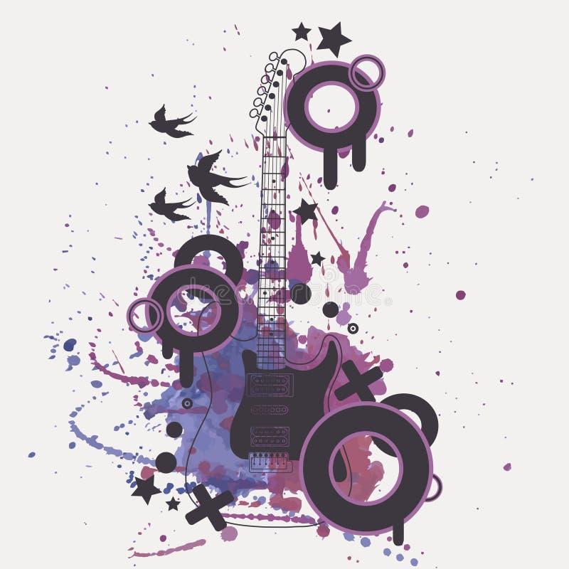 Illustration de vecteur de guitare électrique avec l'éclaboussure d'aquarelle illustration libre de droits