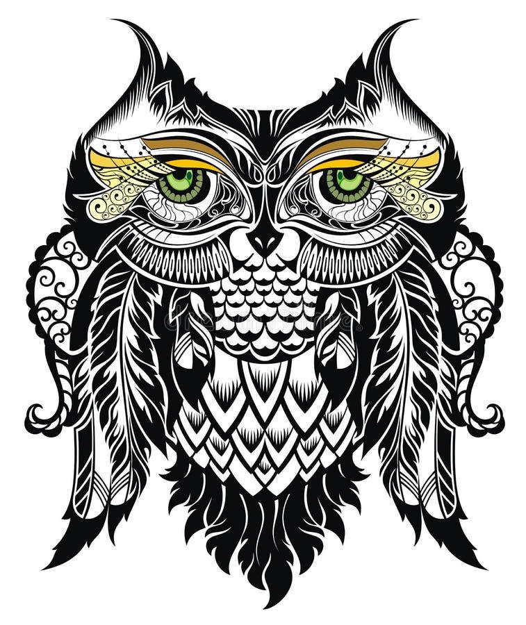 Illustration de vecteur de hibou Oiseau illustré dans le tribal illustration de vecteur