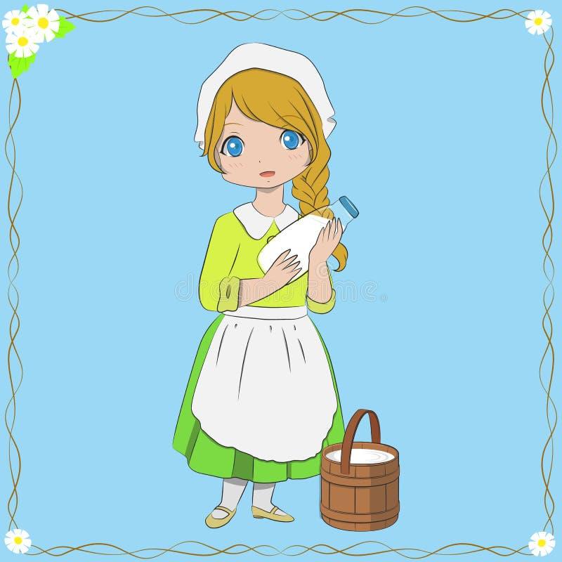 Illustration de vecteur de Holding Milk Bottle de trayeuse illustration de vecteur