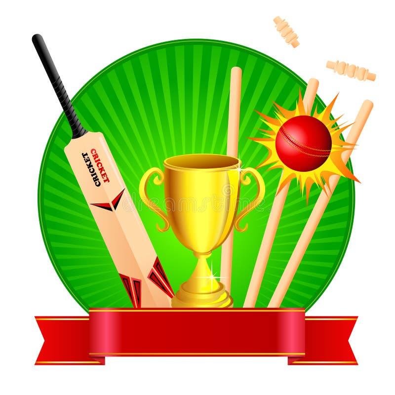 Kit de cricket avec le trophée illustration libre de droits