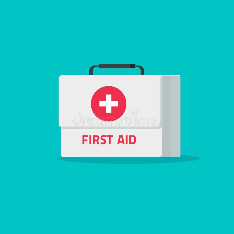 Illustration de vecteur de kit de premiers secours, bande dessinée plate médicale ou icône de kit de secours de pharmacie, soins  illustration de vecteur