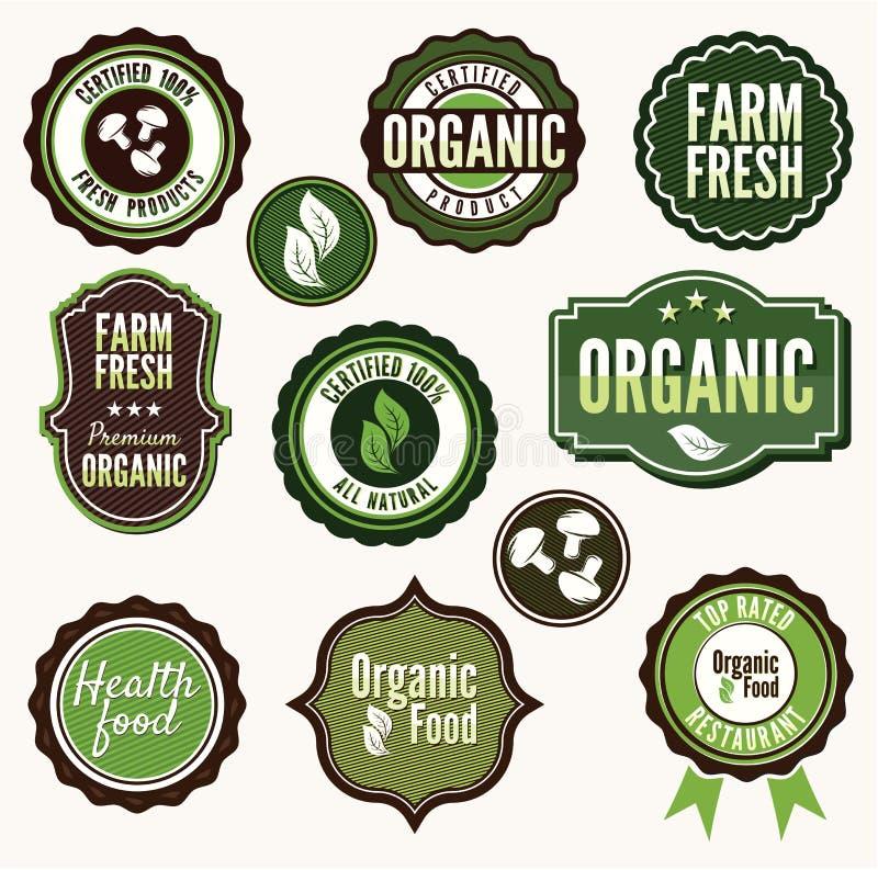 Ensemble d'insignes et de labe organiques et de ferme de nourriture fraîche illustration libre de droits