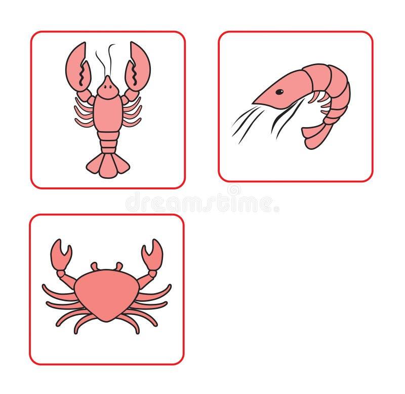 Illustration de vecteur de l'ensemble de fruits de mer images libres de droits