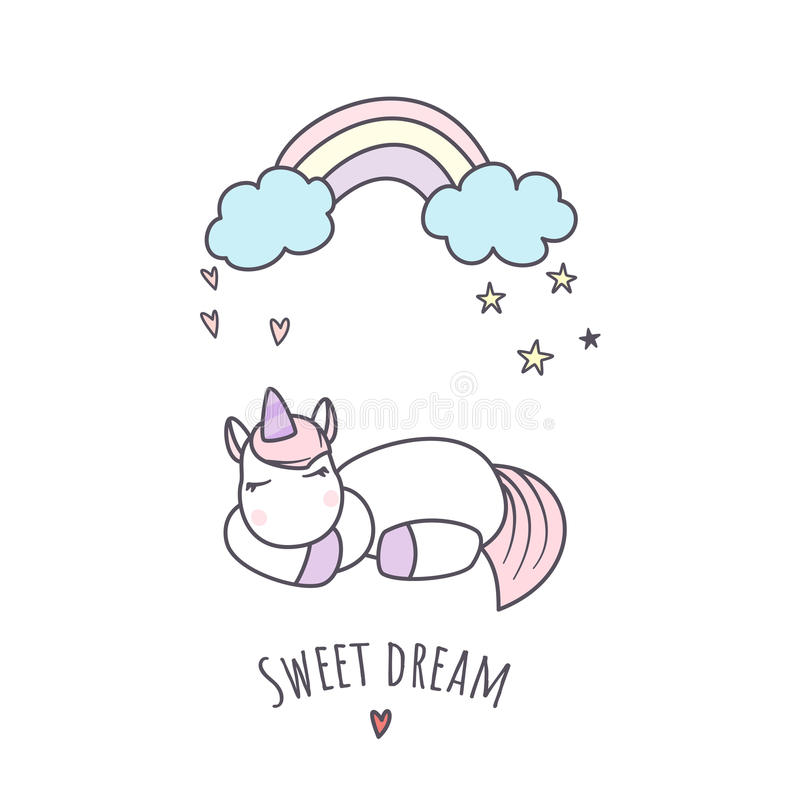 Illustration de vecteur de licorne de sommeil photo stock