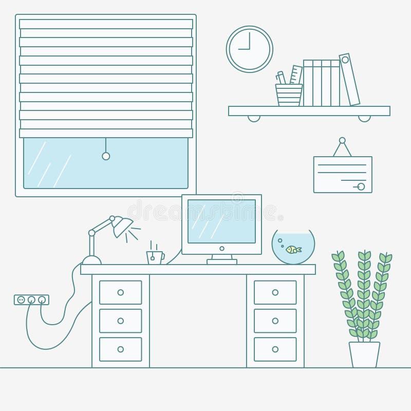 Illustration de vecteur de lieu de travail ennuyeux Intérieur de bureau ligne plate illustration libre de droits
