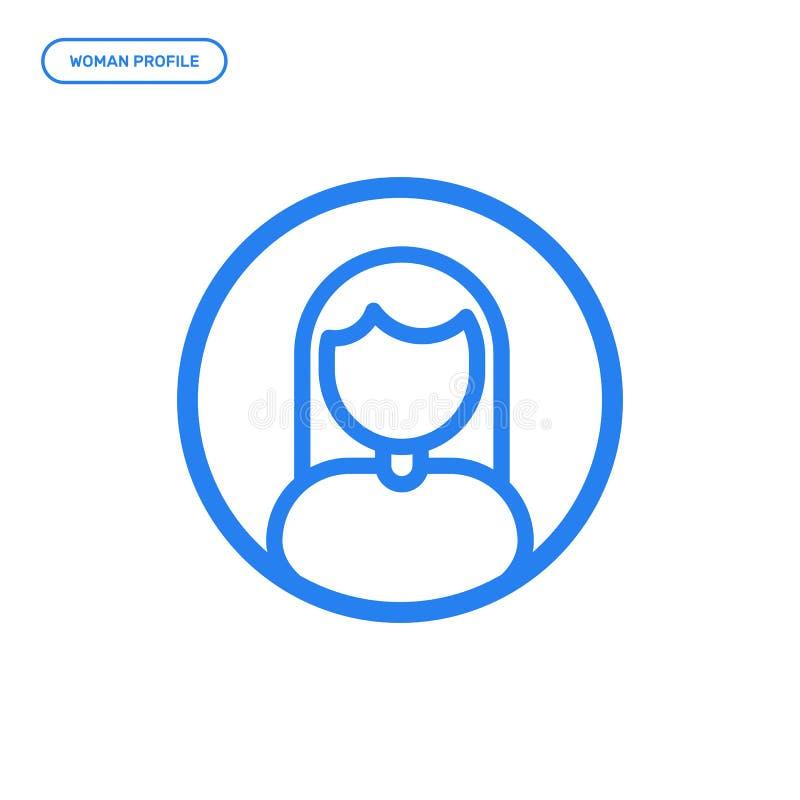 Illustration de vecteur de ligne plate icône de femelle Concept de construction graphique de profil de femme illustration stock