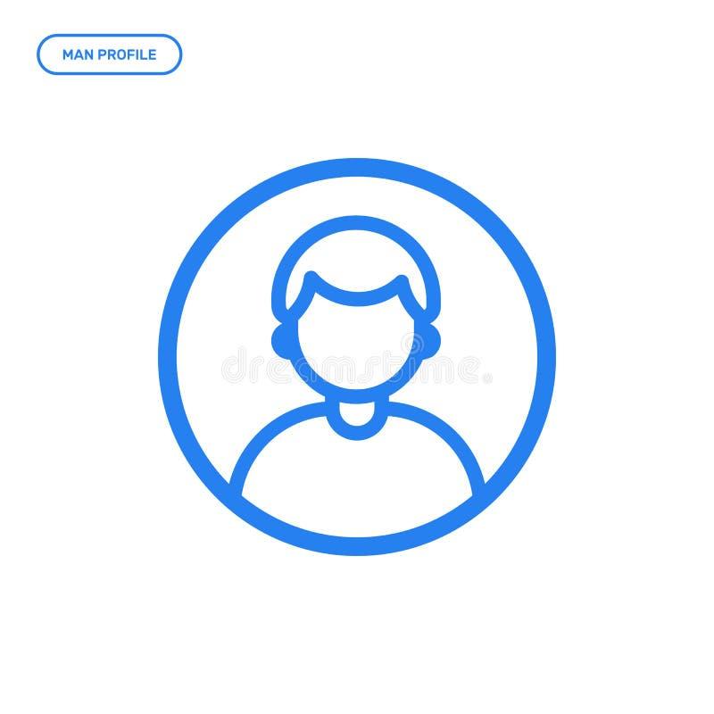 Illustration de vecteur de ligne plate icône de mâle Concept de construction graphique de profil de l'homme illustration libre de droits