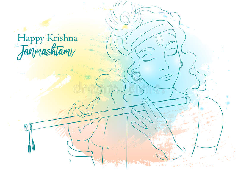 Illustration de vecteur de Lord Krishna Janmashtami heureux, salutations indoues annuelles de festival Portrait de schéma illustration libre de droits