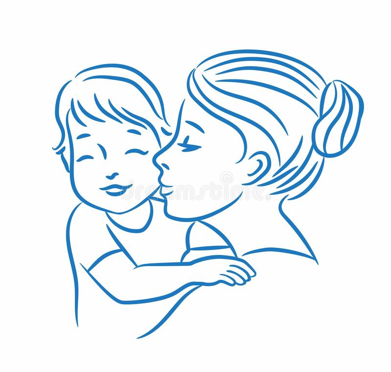 Illustration de vecteur de mère et de son bébé illustration libre de droits