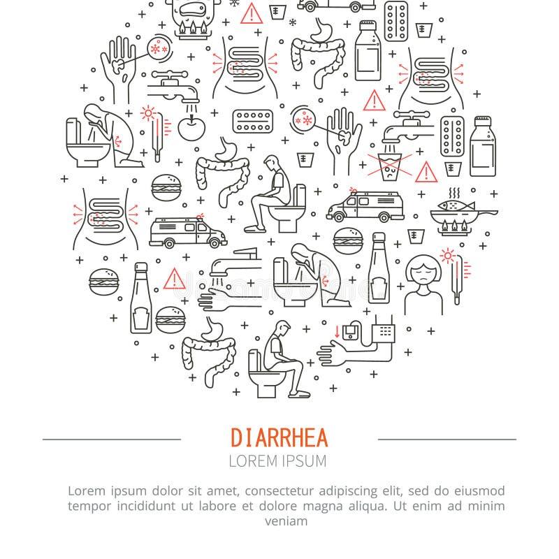 Illustration de vecteur de médecine de diarrhée illustration stock