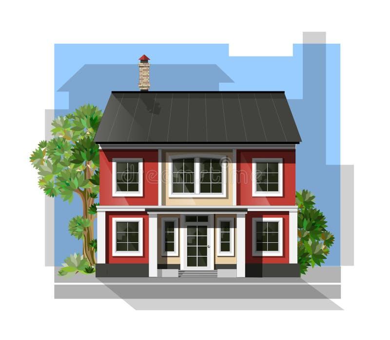 Illustration de vecteur de maison détaillée fraîche de famille illustration de vecteur